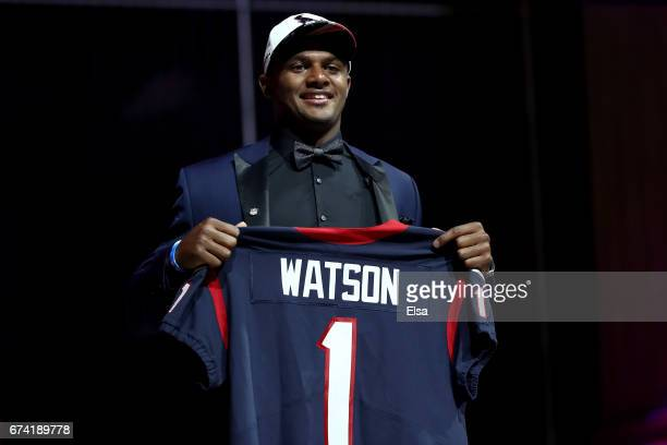 Deshaun Watson of Clemson reacts after being picked overall by the Houston Texans during the first round of the 2017 NFL Draft at the Philadelphia...