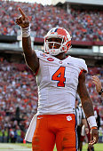 Deshaun Watson of the Clemson Tigers after scoring a touchdown during their game against the South Carolina Gamecocks at WilliamsBrice Stadium on...