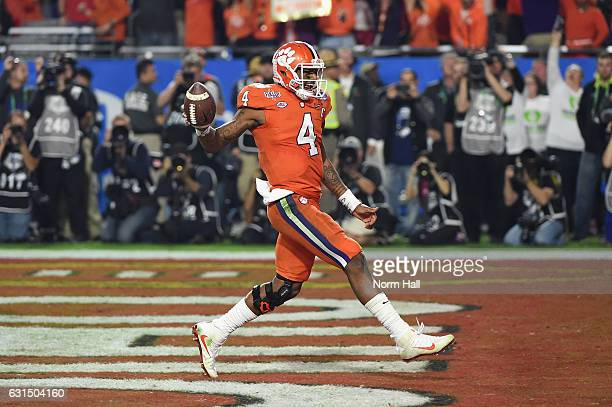 Deshaun Watson of the Clemson Tigers celebrates after scoring a third quarter touchdown during the 2016 PlayStation Fiesta Bowl against the Ohio...