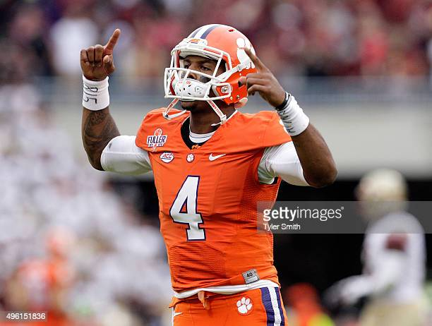 Deshaun Watson of the Clemson Tigers pumps up fans prior to the game against the Florida State Seminoles at Memorial Stadium on November 7 2015 in...