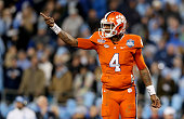 Deshaun Watson of the Clemson Tigers reacts after a play against the North Carolina Tar Heels during the Atlantic Coast Conference Football...