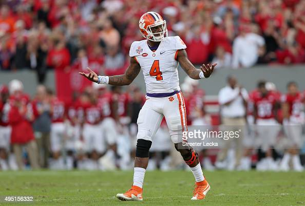 Deshaun Watson of the Clemson Tigers reacts after a play during their game against the North Carolina State Wolfpack at CarterFinley Stadium on...