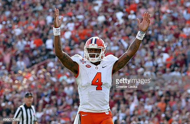 Deshaun Watson of the Clemson Tigers reacts after a play during their game against the South Carolina Gamecocks at WilliamsBrice Stadium on November...
