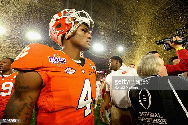 Deshaun Watson of the Clemson Tigers reacts after being defeated by the Alabama Crimson Tide with a score of 45 to 40 in the 2016 College Football...