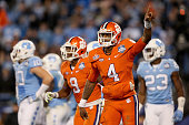 Deshaun Watson of the Clemson Tigers reacts after scoring a 2nd quarter touchdown against the North Carolina Tar Heels during the Atlantic Coast...