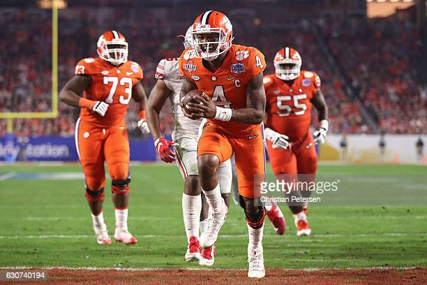 Deshaun Watson of the Clemson Tigers reacts after scoring a third quarter touchdown during the 2016 PlayStation Fiesta Bowl against the Ohio State...