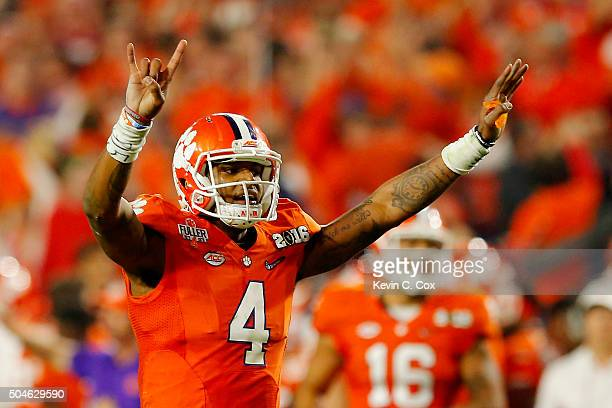 Deshaun Watson of the Clemson Tigers reacts against the Alabama Crimson Tide during the 2016 College Football Playoff National Championship Game at...