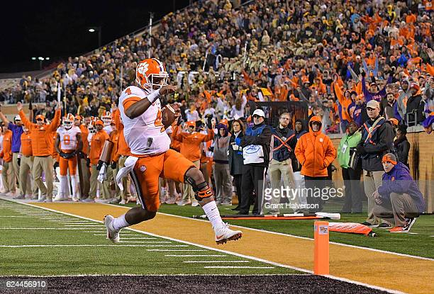 Deshaun Watson of the Clemson Tigers scores a touchdown against the Wake Forest Demon Deacons during the game at BBT Field on November 19 2016 in...