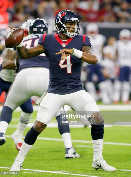 Deshaun Watson of the Houston Texans rolls out against the New England Patriots in a preseason game at NRG Stadium on August 19 2017 in Houston Texas