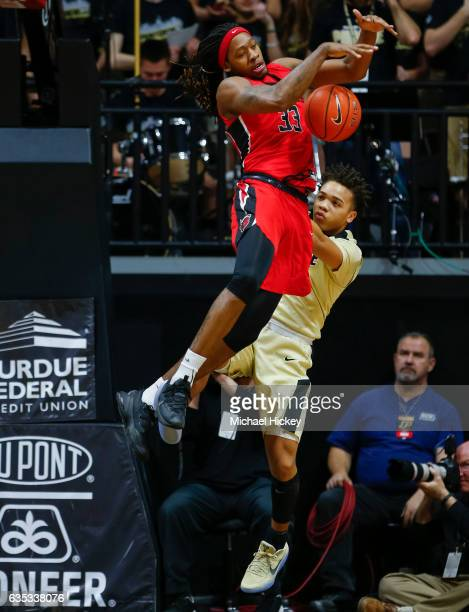 Deshawn Freeman of the Rutgers Scarlet Knights steals the ball from Carsen Edwards of the Purdue Boilermakers at Mackey Arena on February 14 2017 in...
