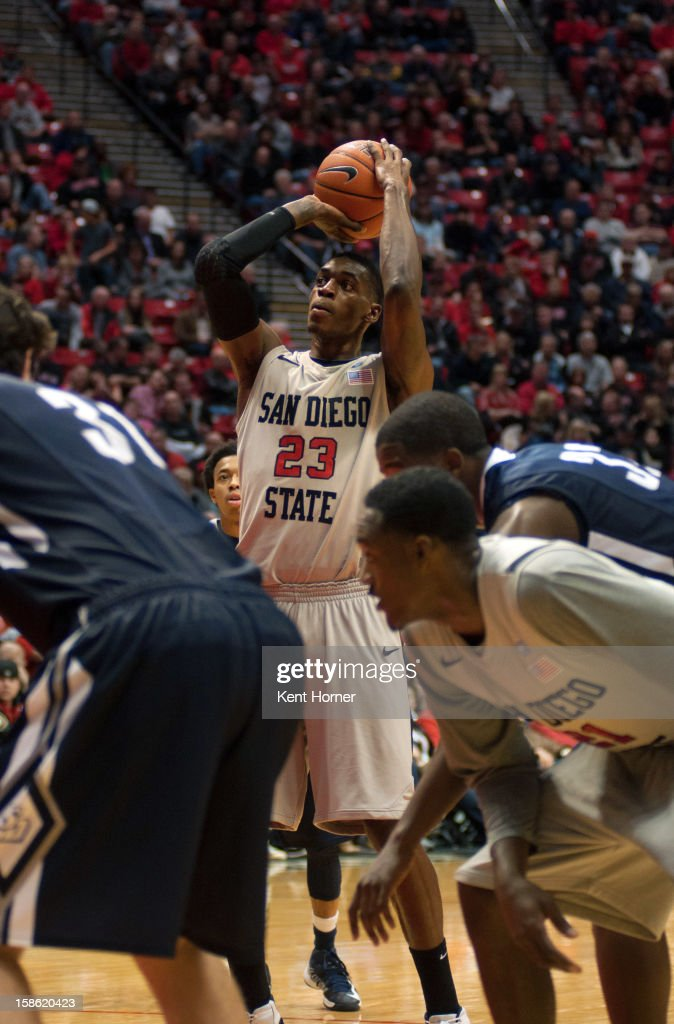 Deshawn Stephens #23 of the San Diego State Aztecs shoots a free throw in the second half of the game against the University of San Diego Toreros at Viejas Arena on December 15, 2012 in San Diego, California.