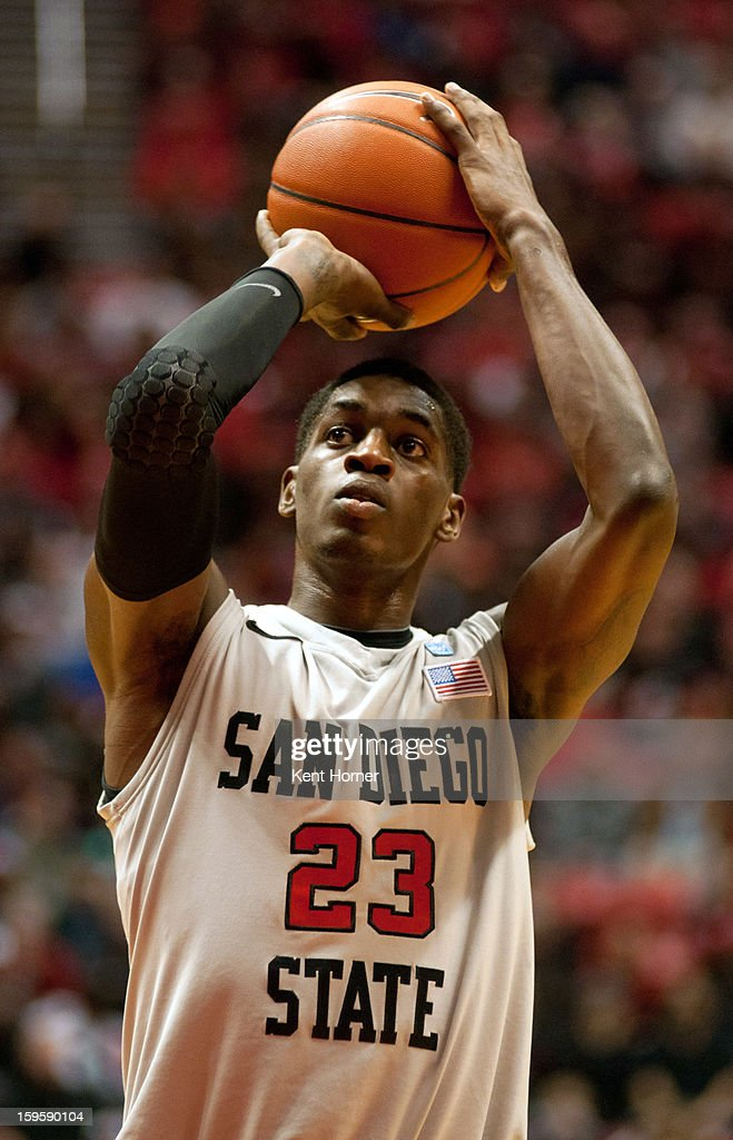 Deshawn Stephens #23 of the San Diego State Aztecs shoots the ball in the first half of the game against the UNLV Runnin' Rebels at Viejas Arena on January 16, 2013 in San Diego, California.