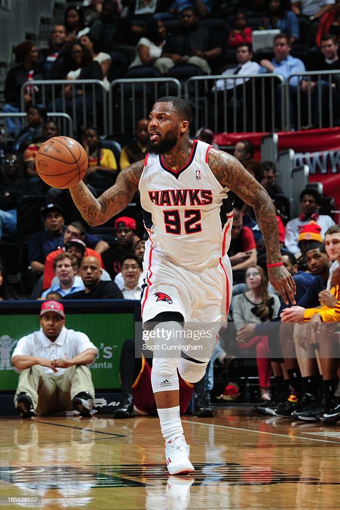 <a gi-track='captionPersonalityLinkClicked' href=/galleries/search?phrase=DeShawn+Stevenson&family=editorial&specificpeople=202494 ng-click='$event.stopPropagation()'>DeShawn Stevenson</a> #92 of the Atlanta Hawks brings the ball up court against the Cleveland Cavaliers on April 1, 2013 at Philips Arena in Atlanta, Georgia.