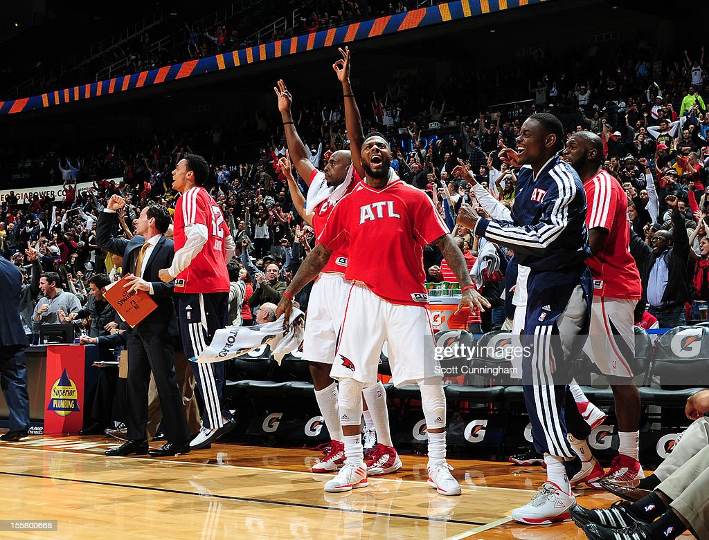 <a gi-track='captionPersonalityLinkClicked' href=/galleries/search?phrase=DeShawn+Stevenson&family=editorial&specificpeople=202494 ng-click='$event.stopPropagation()'>DeShawn Stevenson</a> #92 of the Atlanta Hawks celebrates during the game against the Indiana Pacers at Philips Arena on November 7, 2012 in Atlanta, Georgia.