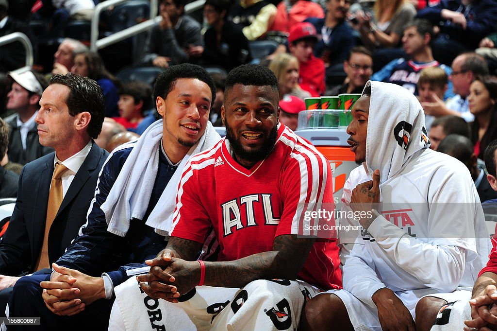 <a gi-track='captionPersonalityLinkClicked' href=/galleries/search?phrase=DeShawn+Stevenson&family=editorial&specificpeople=202494 ng-click='$event.stopPropagation()'>DeShawn Stevenson</a> #92 of the Atlanta Hawks during the game against the Indiana Pacers at Philips Arena on November 7, 2012 in Atlanta, Georgia.