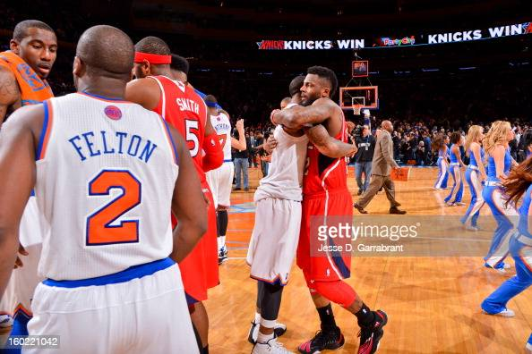 DeShawn Stevenson of the Atlanta Hawks hugs JR Smith of the New York Knicks following their game at Madison Square Garden on January 27 2013 in New...