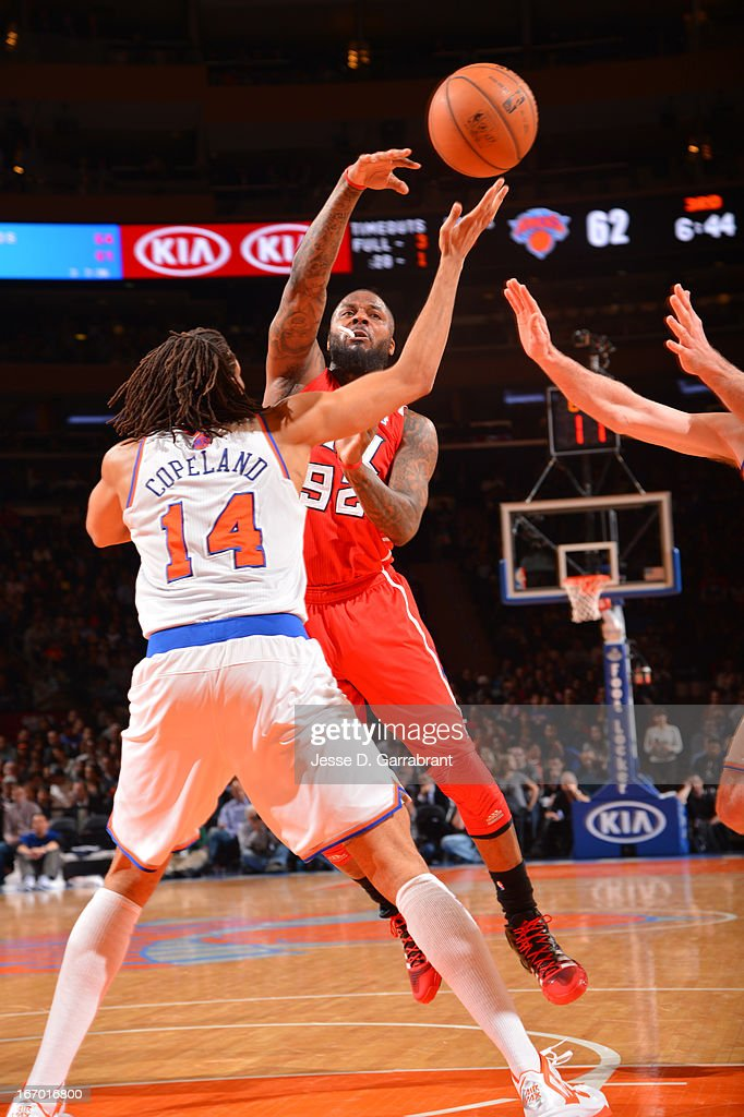 DeShawn Stevenson #92 of the Atlanta Hawks passes the ball against Chris Copeland #14 of the New York Knicks on April 17, 2013 at Madison Square Garden in New York City, New York.
