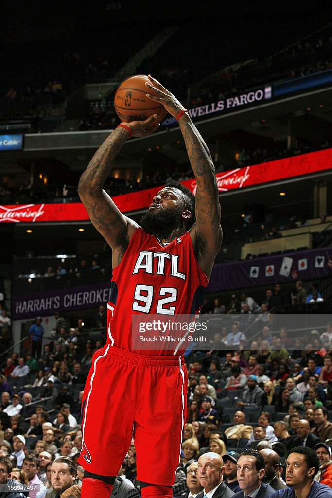 DeShawn Stevenson #92 of the Atlanta Hawks shoots against the Charlotte Bobcats at the Time Warner Cable Arena on January 23, 2013 in Charlotte, North Carolina.