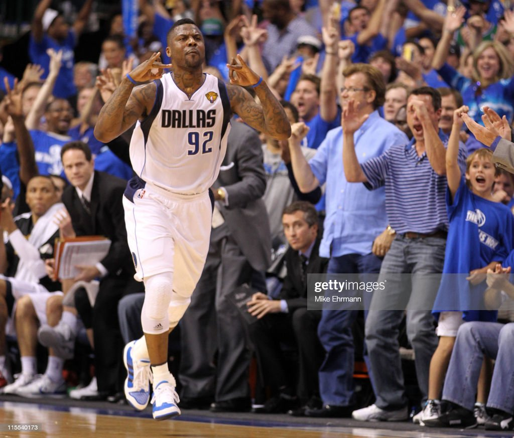DeShawn Stevenson #92 of the Dallas Mavericks reacts after he made a 3-point shot in the first half against the Miami Heat in Game Four of the 2011 NBA Finals at American Airlines Center on June 7, 2011 in Dallas, Texas.