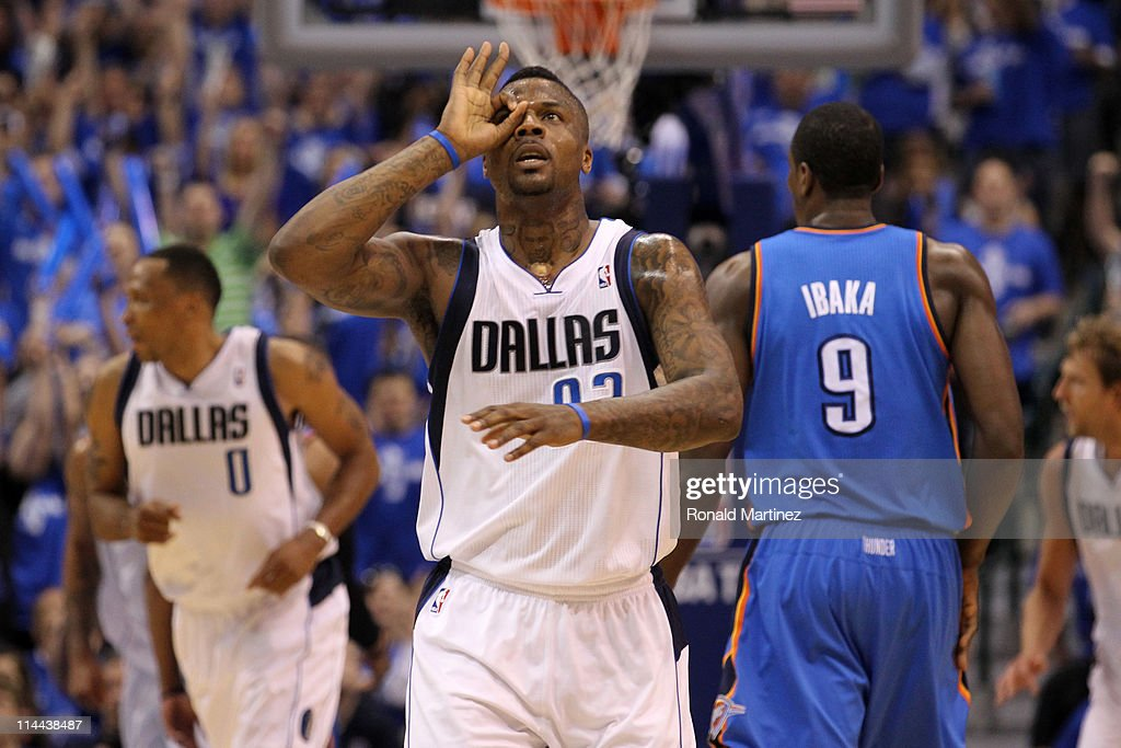 DeShawn Stevenson #92 of the Dallas Mavericks reacts in the third quarter while taking on the Oklahoma City Thunder in Game Two of the Western Conference Finals during the 2011 NBA Playoffs at American Airlines Center on May 19, 2011 in Dallas, Texas.