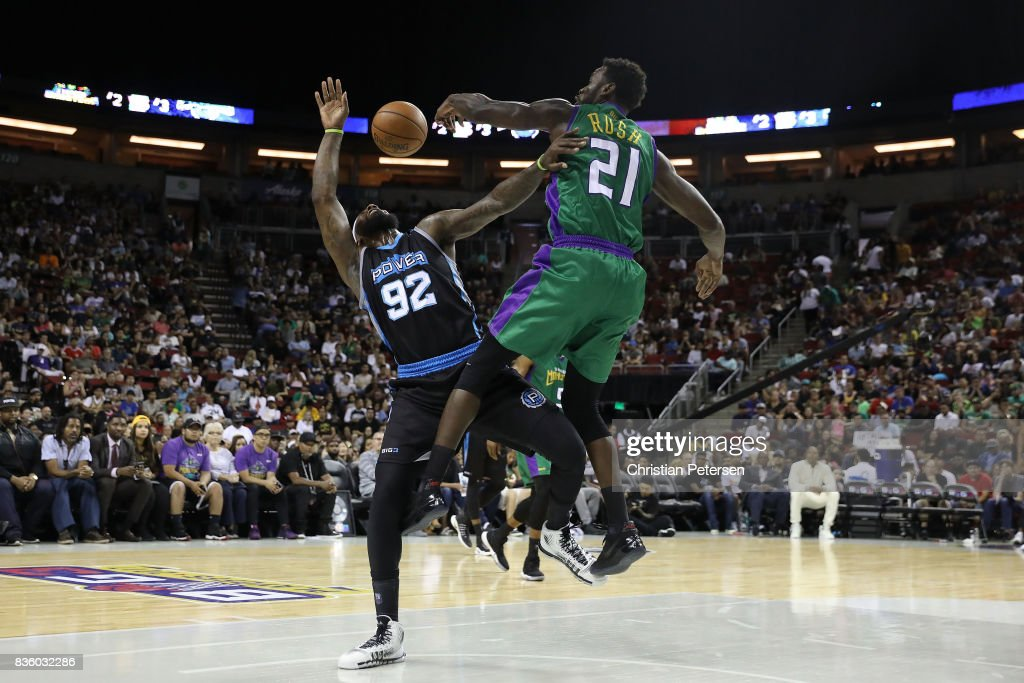 DeShawn Stevenson #92 of the Power is blocked by Kareem Rush #21 of the 3 Headed Monsters in week nine of the BIG3 three-on-three basketball league at KeyArena on August 20, 2017 in Seattle, Washington.