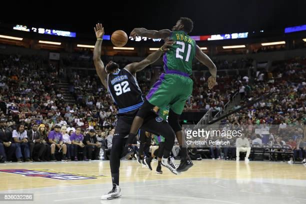 DeShawn Stevenson of the Power is blocked by Kareem Rush of the 3 Headed Monsters in week nine of the BIG3 threeonthree basketball league at KeyArena...