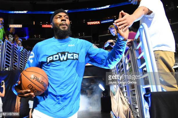 DeShawn Stevenson of the Power is introduced during week eight of the BIG3 three on three basketball league at Staples Center on August 13 2017 in...