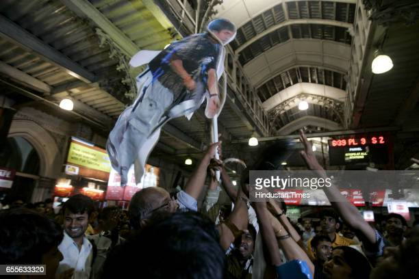 Deshbhakti Andolan organisation symbolically hanged terrorist Ajmal Kasab poster at CST where he opend fire on people