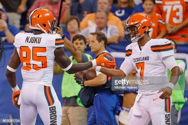 DeShone Kizer of the Cleveland Browns celebrates with David Njoku after a touchdown against the Indianapolis Colts during the first half at Lucas Oil...