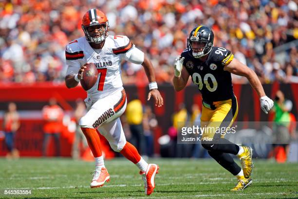 DeShone Kizer of the Cleveland Browns eludes TJ Watt of the Pittsburgh Steelers at FirstEnergy Stadium on September 10 2017 in Cleveland Ohio