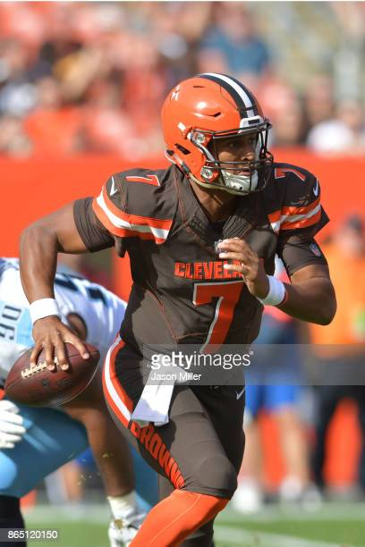 DeShone Kizer of the Cleveland Browns runs the ball in the in the first half against the Tennessee Titans at FirstEnergy Stadium on October 22 2017...