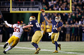 DeShone Kizer of the Notre Dame Fighting Irish passes against the USC Trojans in the first half of the game at Notre Dame Stadium on October 17 2015...