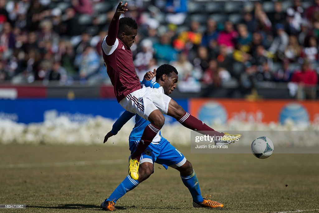 Deshorn Brown #26 of the Colorado Rapids battles for the ball with <a gi-track='captionPersonalityLinkClicked' href=/galleries/search?phrase=Amobi+Okugo&family=editorial&specificpeople=5669370 ng-click='$event.stopPropagation()'>Amobi Okugo</a> #14 of the Philadelphia Union during the second half at Dick's Sporting Goods Park on March 10, 2013 in Commerce City, Colorado. The Union defeated the Rapids 2-1.