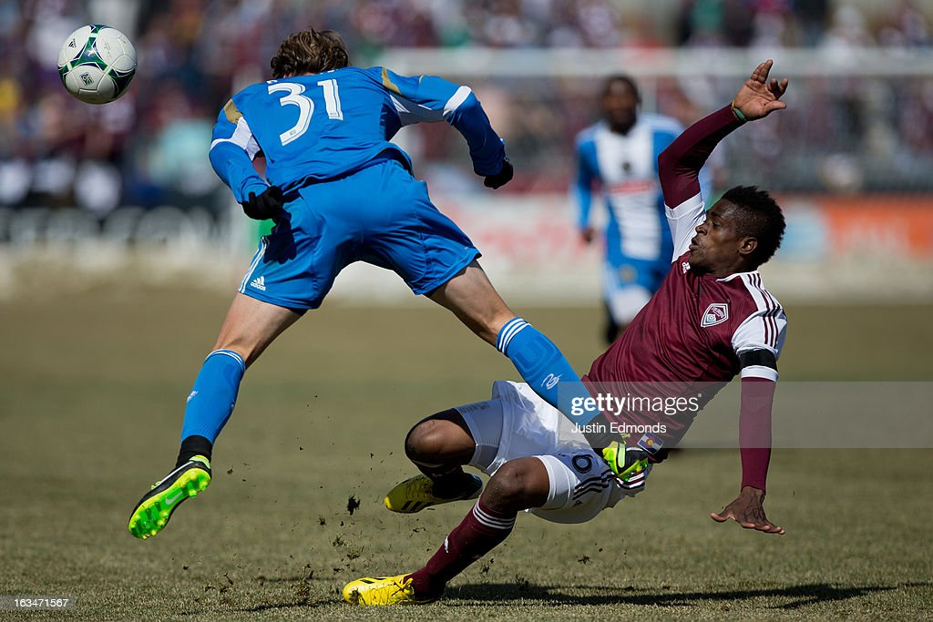 Deshorn Brown #26 of the Colorado Rapids collides with <a gi-track='captionPersonalityLinkClicked' href=/galleries/search?phrase=Jeff+Parke&family=editorial&specificpeople=537910 ng-click='$event.stopPropagation()'>Jeff Parke</a> #31 of the Philadelphia Union during the second half at Dick's Sporting Goods Park on March 10, 2013 in Commerce City, Colorado. The Union defeated the Rapids 2-1.
