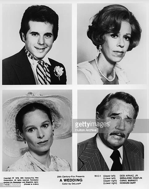 Desi Arnaz and Carol Burnett pose Geraldine Chaplin and Howard Duff pose for the 20th Century Fox movie 'A Wedding' circa 1978