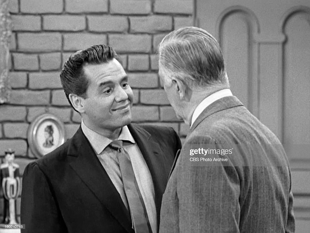 Desi Arnaz as Ricky Ricardo and Shepard Menken as William Abbott in the I LOVE LUCY episode, 'Lucy Becomes a Sculptress.' Season 2, episode 15. Original air date, January 12, 1953. Image is a screen grab.