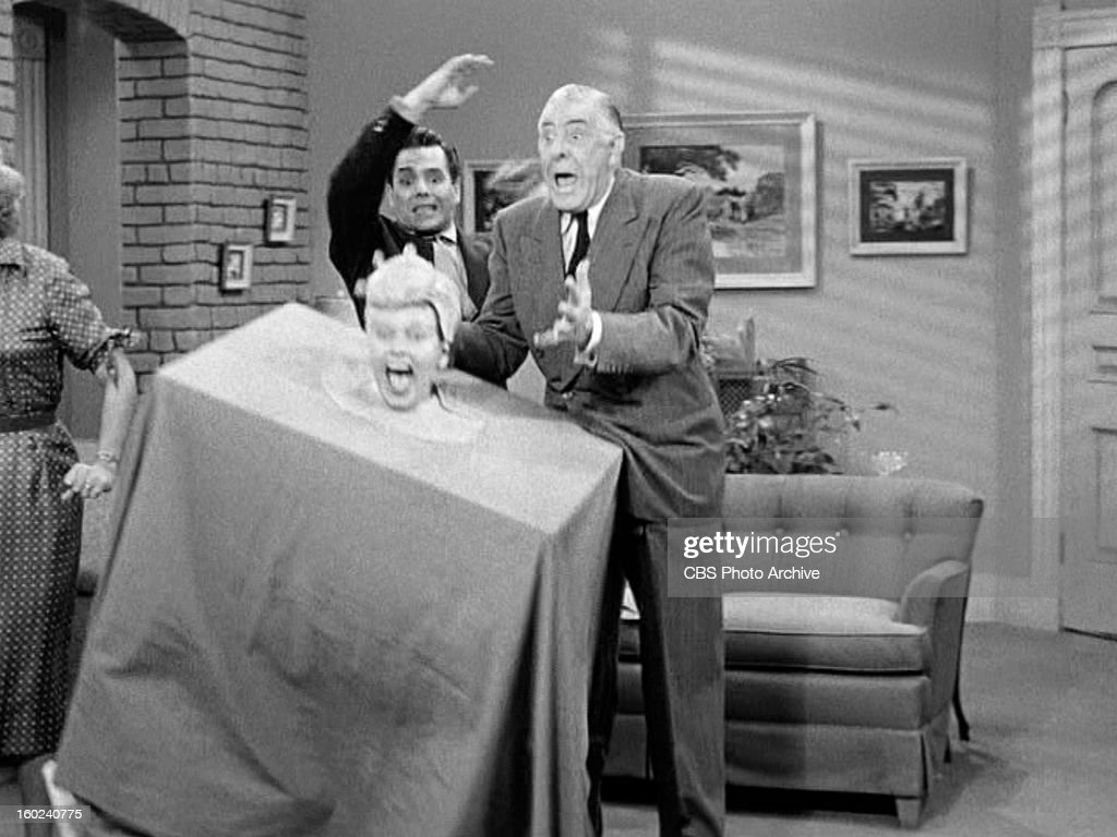 Desi Arnaz as Ricky Ricardo, Lucille Ball as Lucy Ricardo and Shepard Menken as William Abbott in the I LOVE LUCY episode, 'Lucy Becomes a Sculptress.' Season 2, episode 15. Original air date, January 12, 1953. Image is a screen grab.