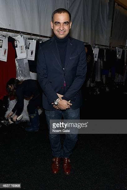 Desiger Bibhu Mohapatra prepares backstage at the Bibhu Mohapatra fashion show during MercedesBenz Fashion Week Fall 2015 at The Pavilion at Lincoln...
