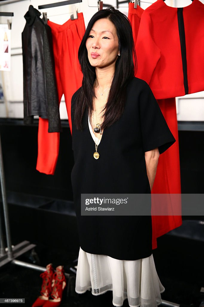 Desiger <a gi-track='captionPersonalityLinkClicked' href=/galleries/search?phrase=Marissa+Webb+-+Fashion+Designer&family=editorial&specificpeople=11339924 ng-click='$event.stopPropagation()'>Marissa Webb</a> backstage at the <a gi-track='captionPersonalityLinkClicked' href=/galleries/search?phrase=Marissa+Webb+-+Fashion+Designer&family=editorial&specificpeople=11339924 ng-click='$event.stopPropagation()'>Marissa Webb</a> fashion show with TRESemme during Mercedes-Benz Fashion Week Fall 2014 at The Salon at Lincoln Center on February 6, 2014 in New York City.