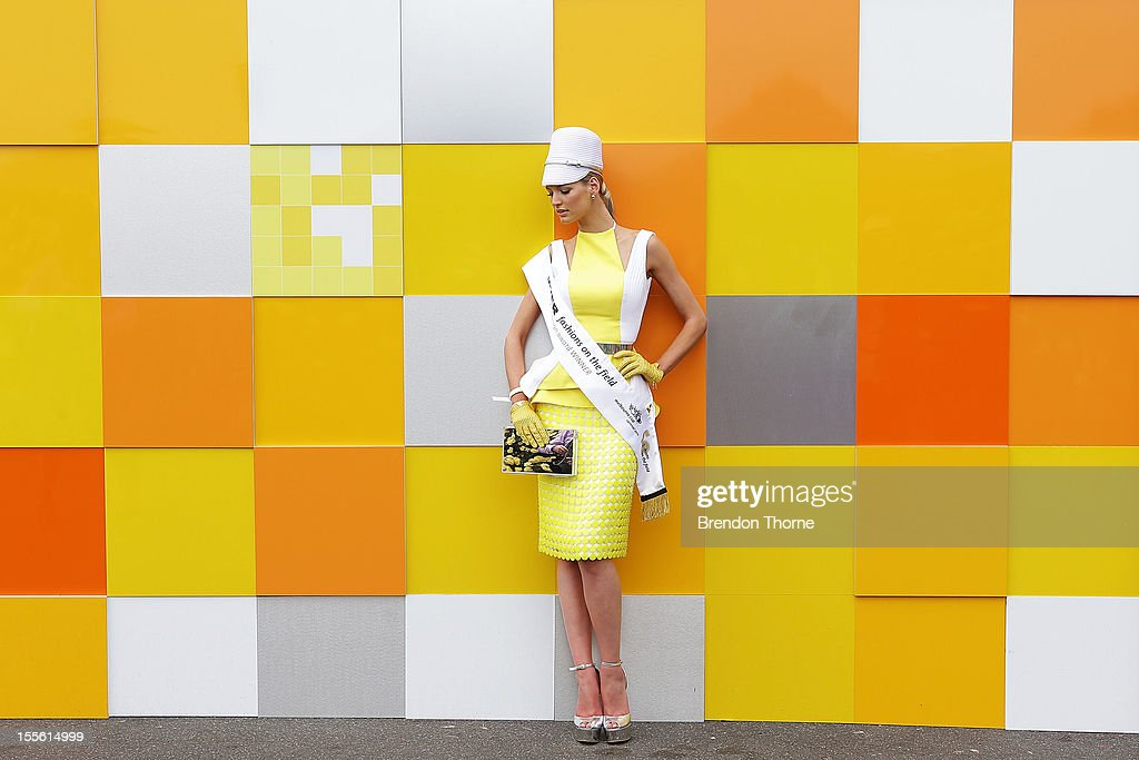 Design award winner, Mary Vitinaros wearing designs by Craig Braybrook poses at the Melbourne Cup at Flemington Racecourse on November 6, 2012 in Melbourne, Australia.