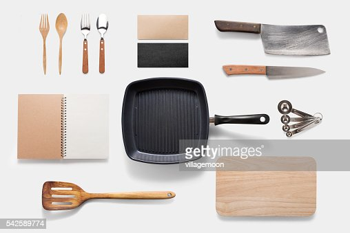 Design concept of mockup arious kitchenware utensils set on whit : Stock-Foto