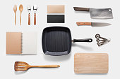 Design concept of mockup arious kitchenware utensils set on white background. Copy space for text and logo. Clipping Path included on white background.