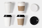 Design concept of mockup coffee cup set and lid set on white background. Copy space for text and logo.