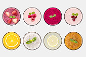 Design concept of mockup fruit smoothie and fruit juice set isolated on white background. Clipping Path included on white background.