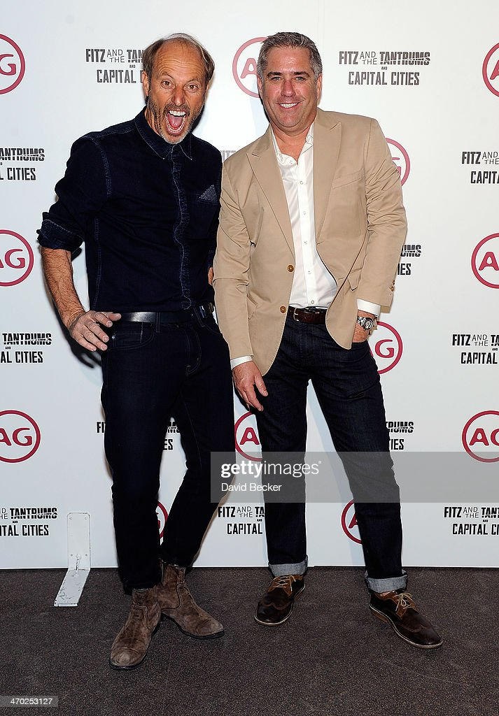 AG Design Director Mark Wiesmayr (L) and Esquire's Southwest Director Todd Simons appear at the Fitz and the Tantrum and Capital Cities concert presented by AG at The Chelsea at The Cosmopolitan of Las Vegas on February 18, 2014 in Las Vegas, Nevada.
