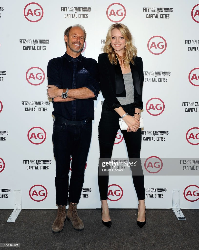 AG Design Director Mark Wiesmayr (L) and model Lindsay Ellingson appear at the Fitz and the Tantrum and Capital Cities concert presented by AG at The Chelsea at The Cosmopolitan of Las Vegas on February 18, 2014 in Las Vegas, Nevada.