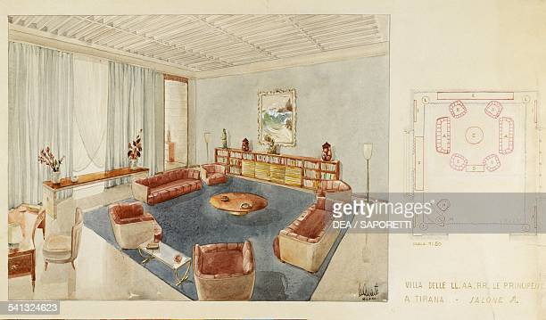Design for a hall of the Royal palace in Tirana 19391940 Art Deco watercolour Italy 20th century