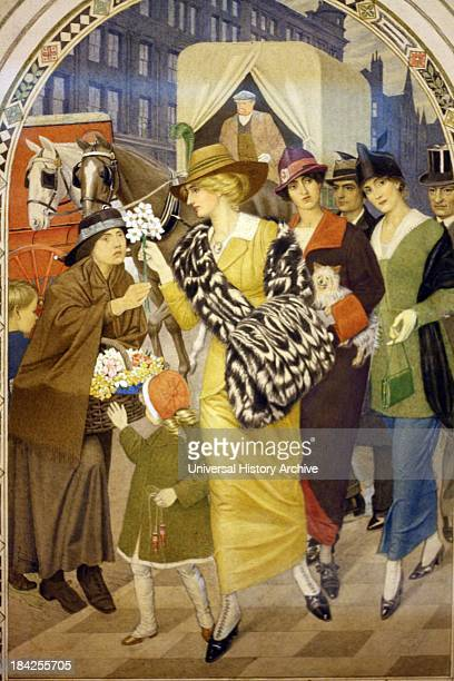 Design for 'Corporation Street' Birmingham in March 1914 By Joseph Southall circa 1915 Pencil watercolour and bodycolour on buff paper This is the...