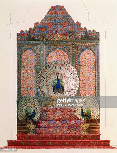 Design for the Peacock Throne of the Moorish cloister in the royal castle of Ludwig II in Linderhof by Georg von Dollmann