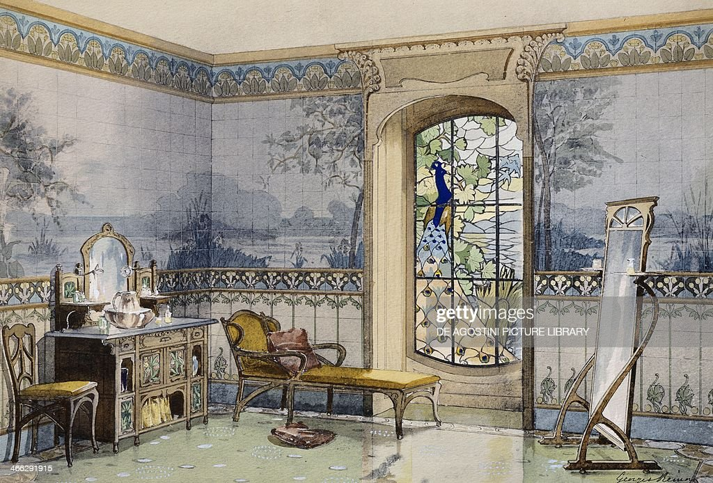 Design of a bathroom, 1900, by Georges Remon (1889-1963) from Interieurs Modernes (Modern Interiors).